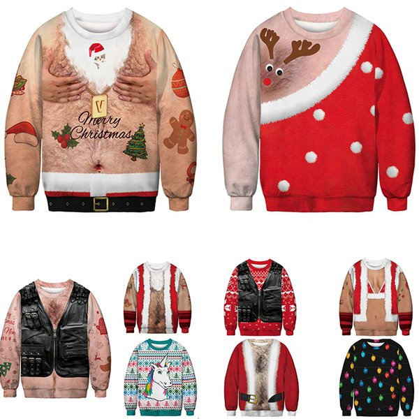 2019 Unisex Men Women 2019 Ugly Christmas Sweater Vacation Santa Elf Funny  Christmas Fake Hair Jumper Autumn Winter Tops Clothing Y191109 From