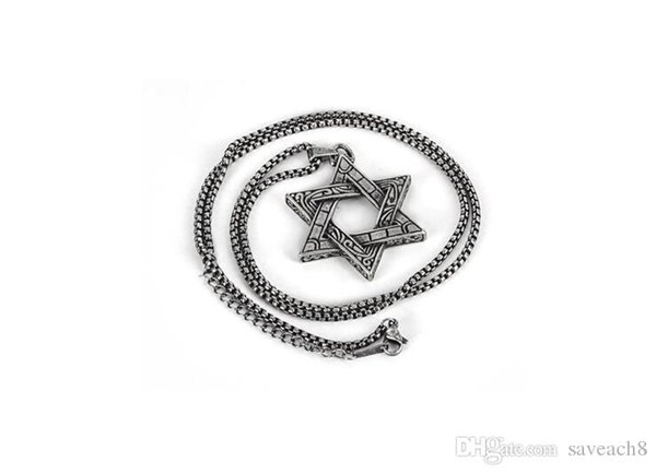 Mogen David Star Mens Necklace Hip Hop Jewelry - Shield of David Magic Hexagram Titanium Steel Necklaces Pendant With Chain