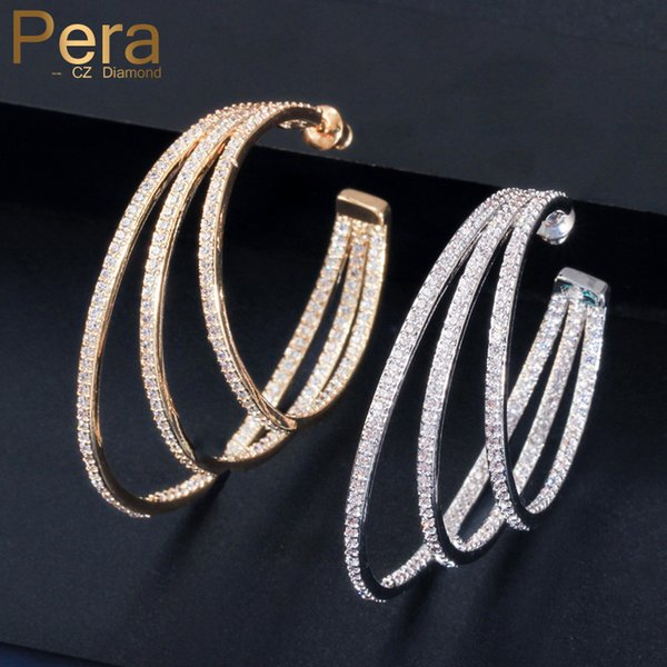 Pera Unique Design Brilliant Yellow Gold Big 3 Circle Round Women Hoop Earrings for Wedding Dress Cubic Zirconia Jewelry E411