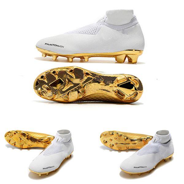 Las botas de fútbol más nuevas de oro blanco Ronaldo CR7 Zapatillas de fútbol originales Botas de fútbol Phantom VSN Elite DF FG