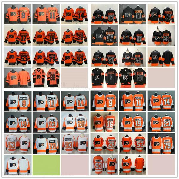 best selling Philadelphia Flyers Hockey 23 Oskar Lindblom 28 Claude Giroux 88 Eric Lindros 53 Shayne Gostisbehere 79 Carter Hart 93 Jakub Voracek Jerseys