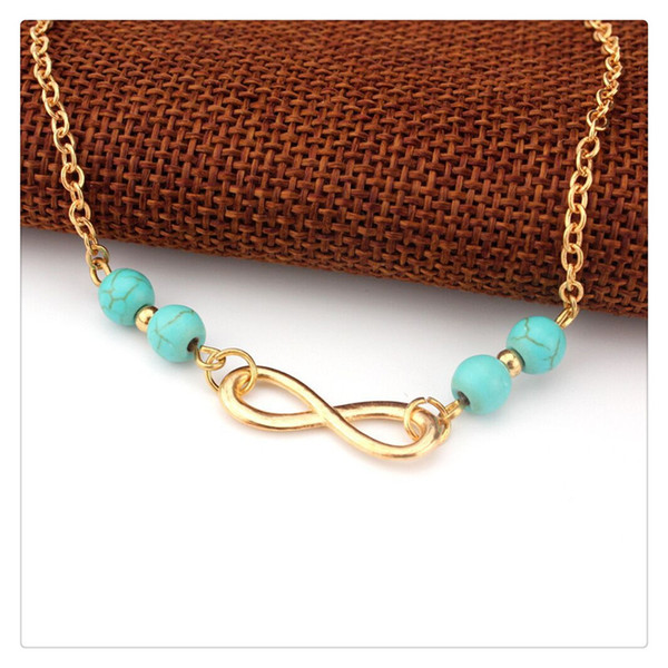Trendy Anklets Beach Foot Jewelry Bells Chains Turquoise Beads Chain Foot Double Zipper Anklet Bracelet For Party Accessories