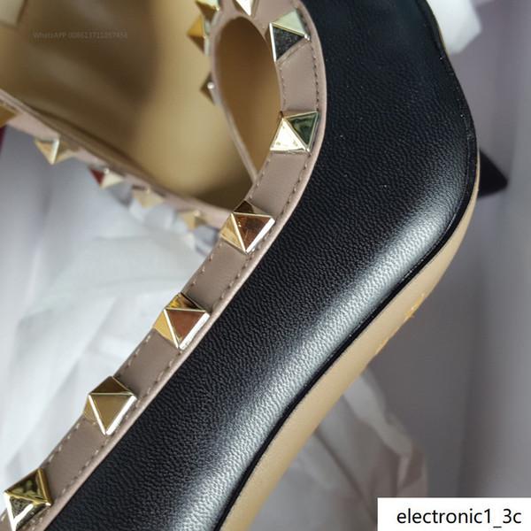¡Envío gratis! 35-41 Nuevos zapatos reales 9.5cm de cuero reales de piel de vaca 2019 de la moda Señora de la manera de los altos talones de la boda Bombas Stud sandalias