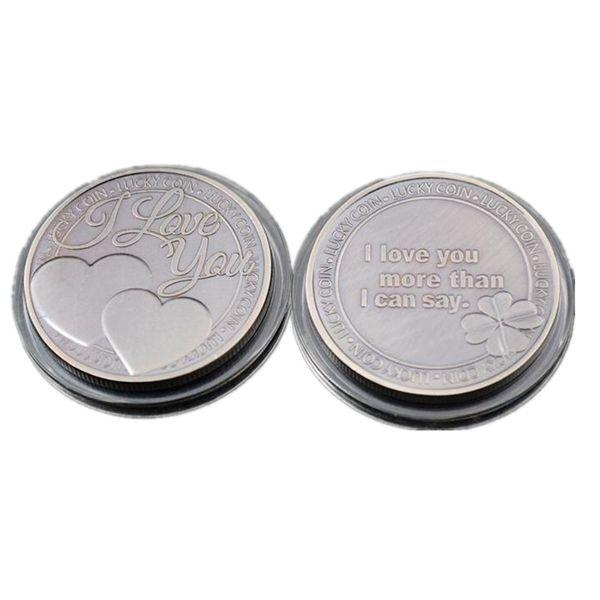 10 pcs SLMTTG antique silver plated heart coin I LOVE YOU MORE THAN I CAN SAY 40 mm badge collectible decoration souvenir coin
