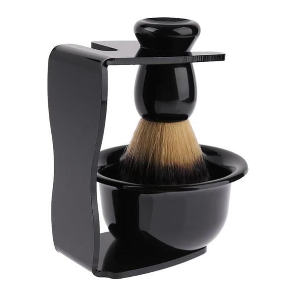 3 in 1 Shaving Brush Badger Handle Synthetic Shaving Bowl Mug Razor Stand Holder Set Beard Brush For Barber Men