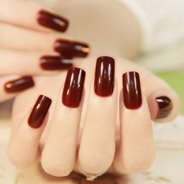 Nail Art Stickers Decals Hot Selling 24PCS French High Light Texture Color Full Cover Nails Tips Special Brown Red Long Square False Nails