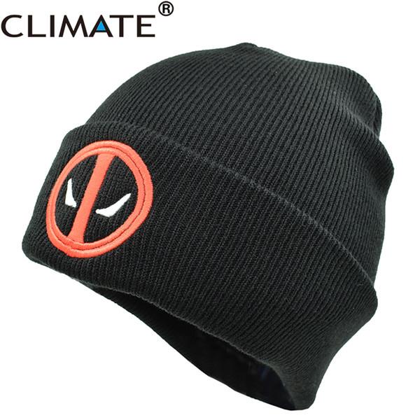 KLIMA Neue Heiße Männer Frauen Winter Warme Mützen Hut Deadpool Heros Hut Mütze Weiche Hip Hop Schwarz Warme Strickmützen Für Männer Frauen