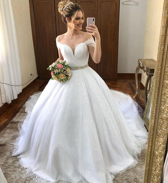 best selling Beautiful fairy Holy Ball Gown Wedding dress off the shoulder shinning sparkly bridal gowns beaded crystal sash custom made lace up back
