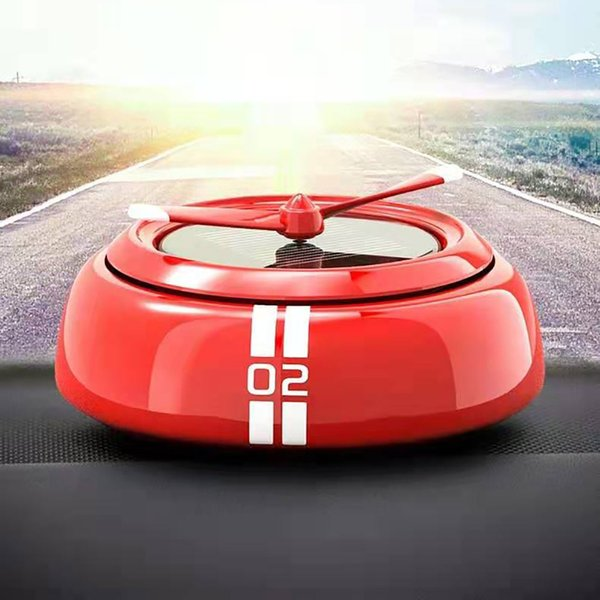 360° fragrance blowing solar energy high-end rotating designed ufo car air purifier car fragrance double ring rotating #n