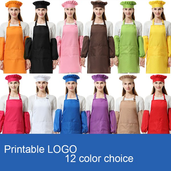 Kitchen Waists 3pcs/set Unisex polyester adult Aprons with Sleeve&Chef Hats for Painting Cooking Baking 12 Colors DHL TC181126