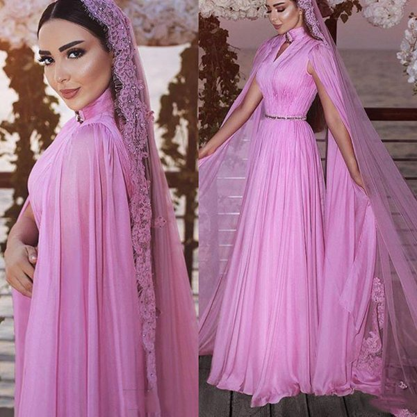 Elegant High Neck Chiffon Evening Dresses New 2019 Sexy Key-Hole Long Sleeves Sash Saudi Arabia Formal Party Gowns Prom Dress Without Veil