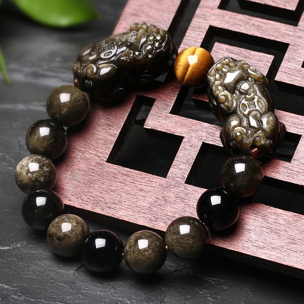 08 Natural Gold Obsidian Stone Bracelet With Tiger Eye And Double Pixiu Bracelet Lucky Brave Troops Charms Women And Men Jewelry