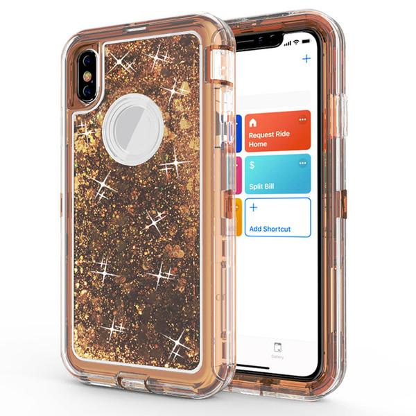 Custodia Quicksand 3 in 1 Glitter liquido per iPhone X XR XS Max 6 7 8 Plus Armatura ibrida Cover trasparente trasparente per Samsung S9 S10 Plus Nota 9