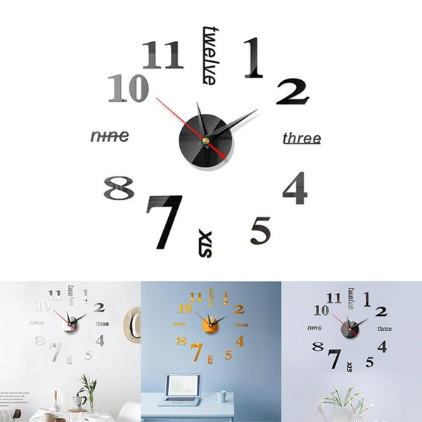 Compre Reloj Reloj De Pared Diseño Moderno 3D DIY Digital Decorativo  Autoadhesivo Espejo Cocina Moderna Vintage Reloj De Pared Grande Pegatinas  A ...