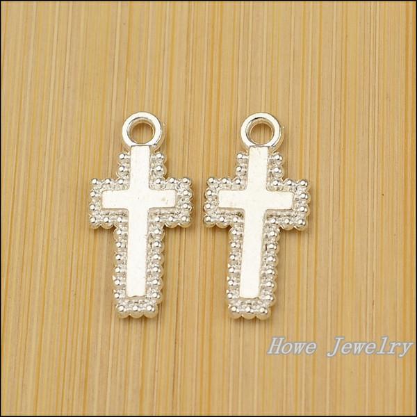 jewelry chic Wholesale 100 PCS Vintage Charms Cross Pendant Bright silver Fit Bracelets Necklace DIY Metal Jewelry Making JC-619