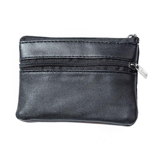 Black Soft Men Women Card Coin Key holder ZIP Genuine Leather Wallet Pouch Bag