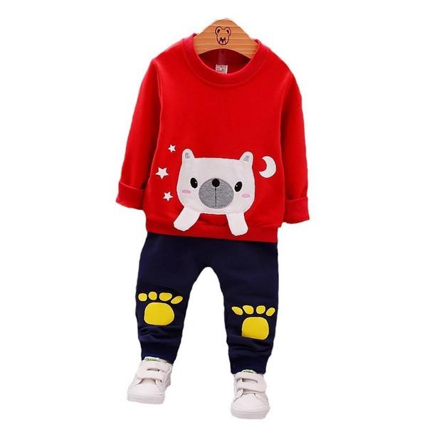 Fashion Children Boys Girls Cartoon Clothing Infant Spring Autumn Kids Full Sleeve Tshirt Patch Pants 2Pcs/Sets Baby Tracksuits