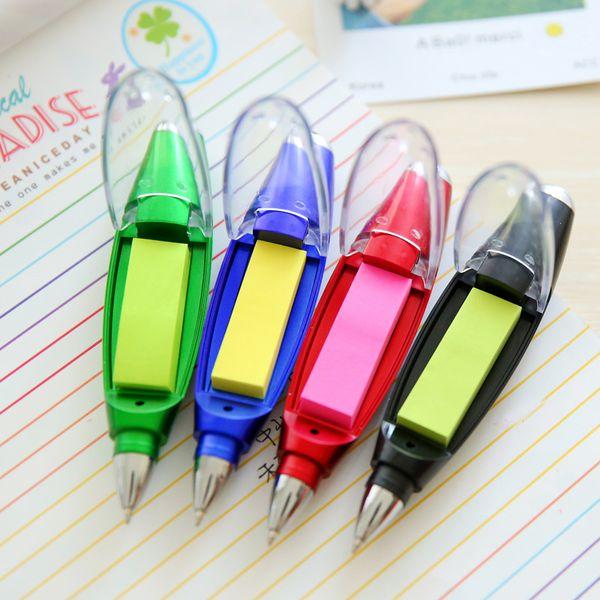 4 Cores Bonito Caneta Esferográfica De Plástico Kawaii Criativo Caneta Esferográfica Luz Com Memo Pad Crianças Presente Material Escolar Estudante Esferográfica