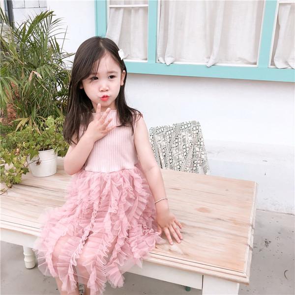 Vendita al dettaglio 2019 estate neonate vestito rosa grigio piega torta principessa dolce abito bambini abbigliamento 2-6Y E10419
