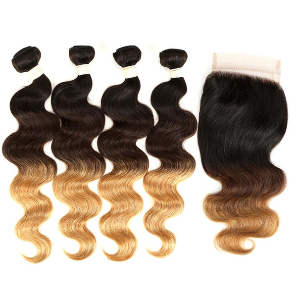 Virgin Brazilian Hair Bundles Ombre Human Hair Body Wave 4 Pcs With 4x4 Lace Closure T1B/4/27 100% Brazillian Hair With Closure