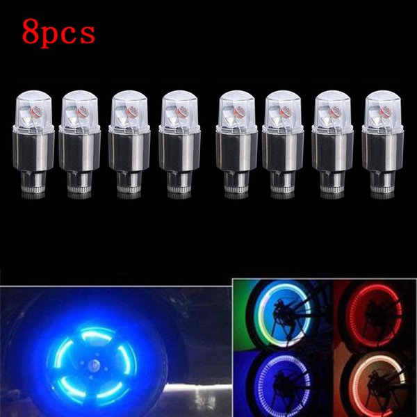 8Pcs Colorful Bike Wheel Tire Tyre Valve Cap Neon LED Flash Light Lamp Car Motorcycle Cool Night Safe Warn Waterproof Durable