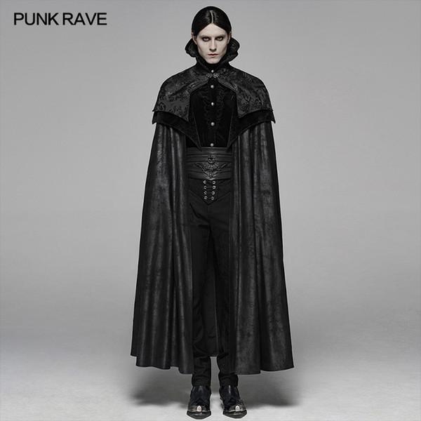 punk rave men's noble gothic gorgeous long cloak big hem handsome winter coat party club halloween cosplay cape mens coats
