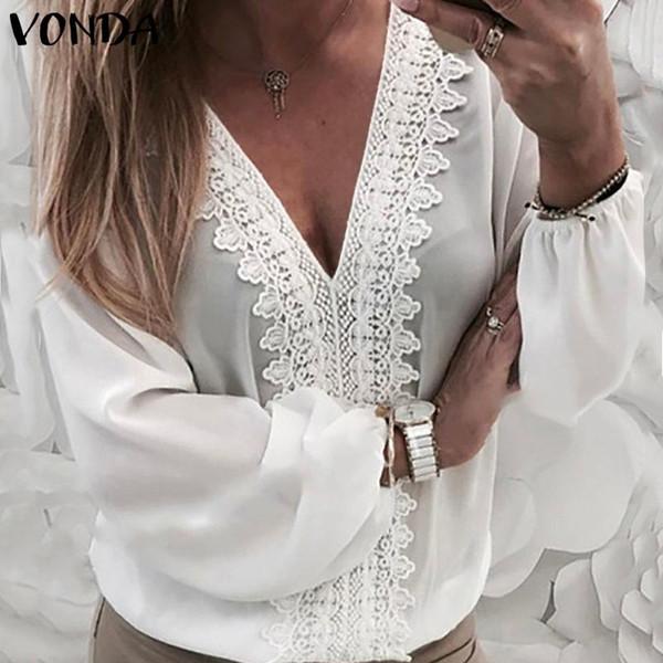 Camicette da donna VONDA 2019 Camicie all'uncinetto in pizzo con scollo a V sexy Camicia a maniche lunghe a lanterna Scava fuori Top Casual sciolto Camicia taglie forti SH190831