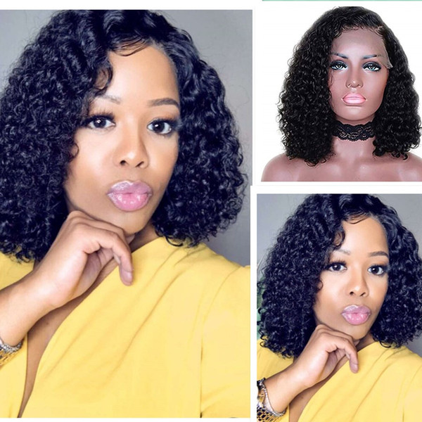 Brazilian Full Lace Human Hair Short Wigs 130%density Bob Curly Human Hair Lace Front Wigs for Black Women black brown