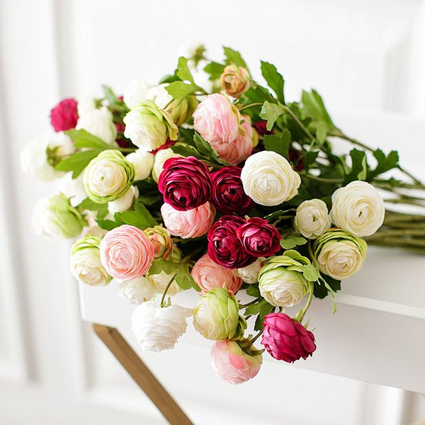 rtificial & Dried Flowers YO CHO 3 Heads/branch Tea Rose Artificial Flower Silk Peonies White Red Wedding Centerpieces Bouquet Home P...
