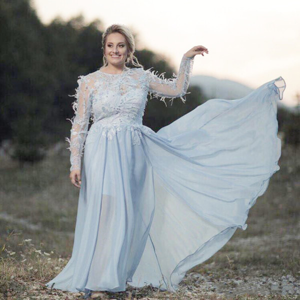 Elegant Chiffon A line Prom Dresses New 2019 Feather Lace Appliques Long Sleeves Formal Evening Gowns Plus Size Party Dress For Fat Woman