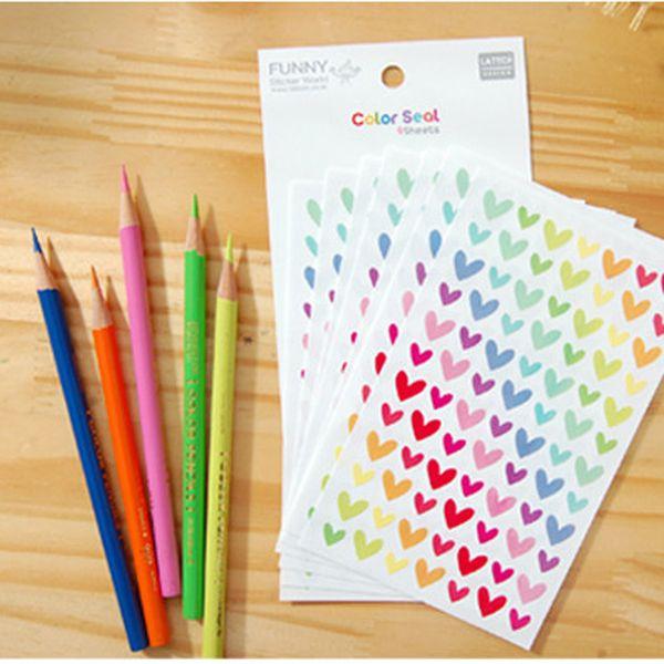 6 psc/lot Colorful cute decoration Sticker Post Sticker Paste Photo album Love shape Wall stickers candy color