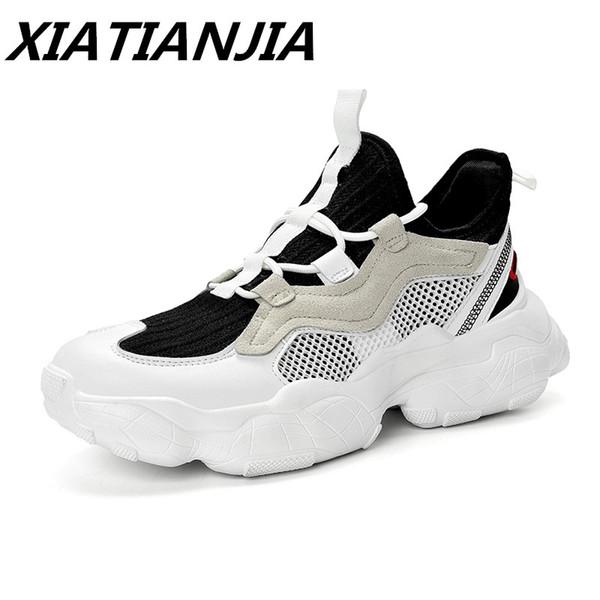 2019 Yaz erkek Sneakers Yeni Örgü Hareketi Rahat Ayakkabılar Erkekler Nefes Işık kaymaz Ayakkabı Tenis Masculino Erkek Ayakkabi