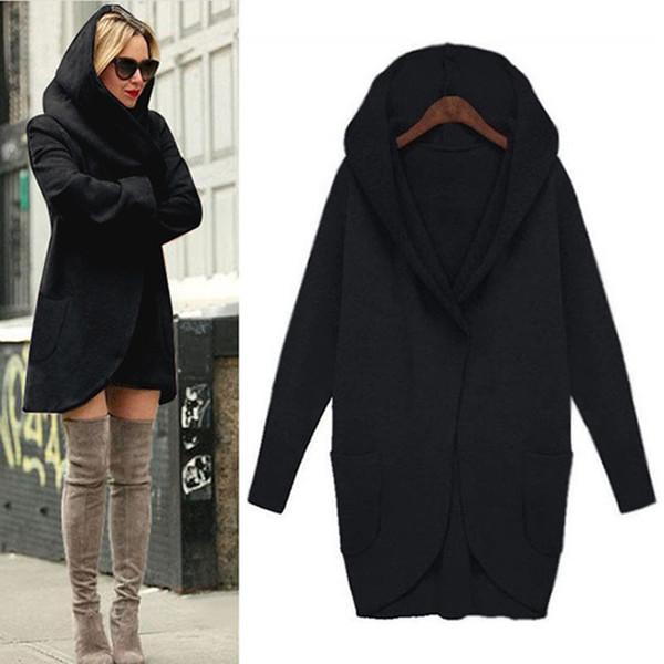 Women Autumn Winter Woolen Hooded Thin Coat Loose Ladies Casual Hoodies Jacket Overcoat AIC88