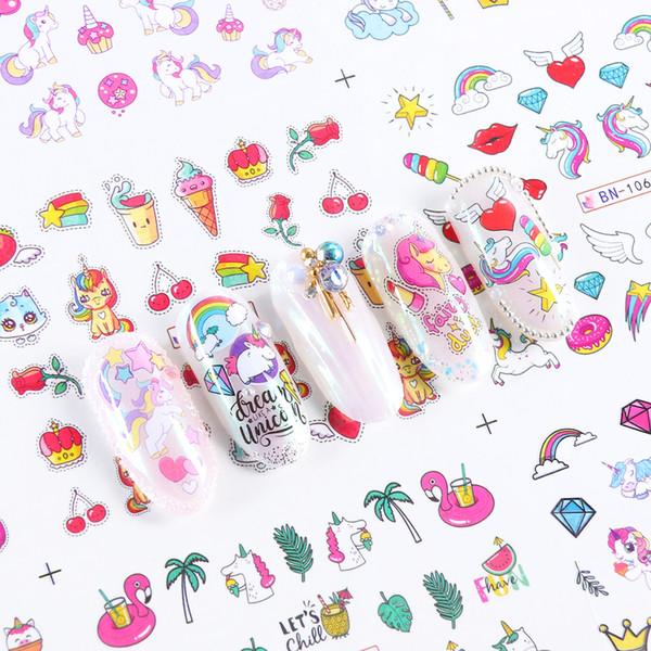 Compre 12 Diseños Encantadores Del Arte Del Clavo Pegatinas Unicornio Dibujos Animados Deslizadores De Transferencia De Agua Marca De Agua Calcomanías