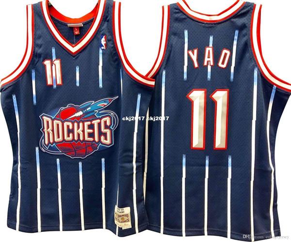 YAO MING # 11 Genähte hochwertige Retro Vintage Top JERSEY Herren Weste Größe XS-6XL Genähte Basketball Trikots Ncaa
