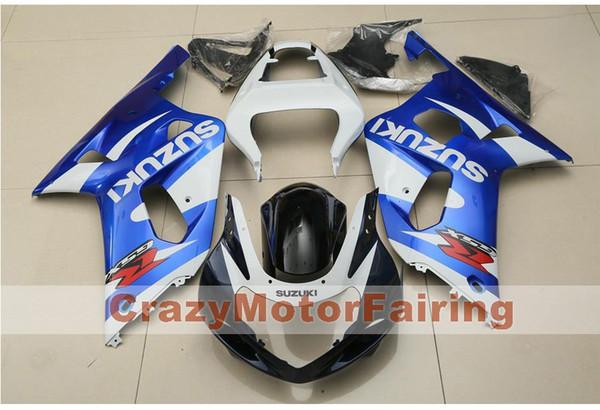 Alta calidad Nueva motocicleta ABS Kits de carenados de bicicleta aptos para Suzuki GSXR600 750 600 K1 2001 2002 2003 01 02 03 conjunto de carrocería Carenado azul blanco