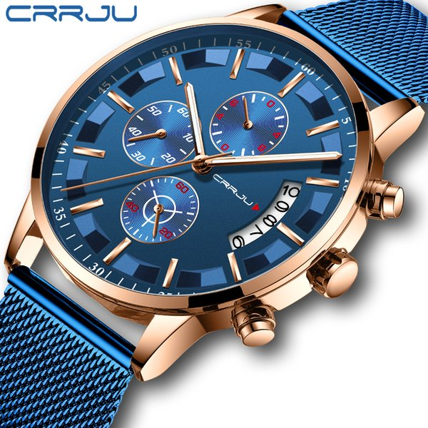 Compre 2019 Relojes Elegantes Para Hombre CRRJU Marca Azul Reloj Deportivo A Prueba De Agua Correa De Malla Casual Para Hombre Reloj De Cuarzo Reloj