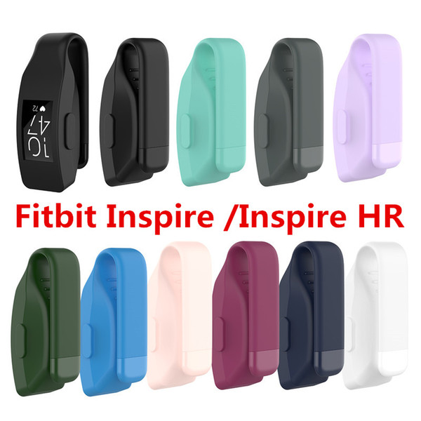 Metal Steel Clasp Clip Silicone Pocket Case Holder Cover For Fitbit inspire / inspire hr Tracker