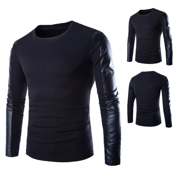 Brands Designer Autumn Winter Mens Sweaters Patchwork Long Leather Sleeve O Neck Jumpers Pullovers Male Christmas Sweater
