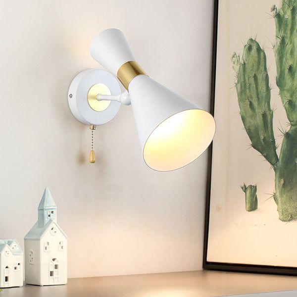 Großhandel Thrisdar Nordic Einfache Led Wandleuchte Lampen Mit Zugschalter Hotel Treppe Flur Gang Schlafzimmer Nacht Horn Led Wandleuchte Von Hogon