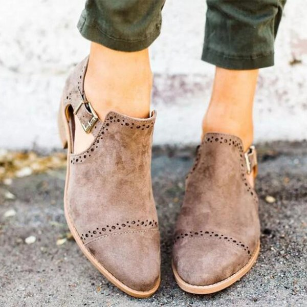 Autumn Female Ankle Boots Woman Low Heel Shoes Buckle Square Heels Plus Size Casual Slip On Short Boot Hollow Out Chunky Bootie