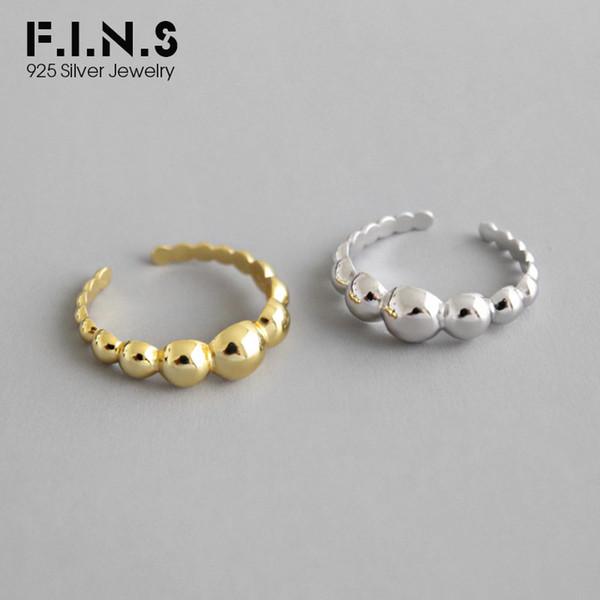 F.I.N.S Minimaliste S925 Bague en argent Sterling INS géométrique perlé boule brillante bague coréenne ouverte Silver 925 Fine Jewelry