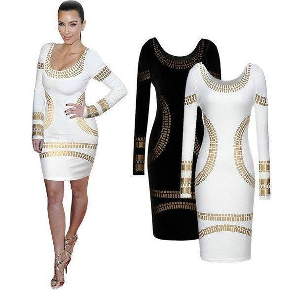 New Sexy Long Sleeve Slim Dress for Women in the Spring and Autumn Period of 2019 Stamped Long Sleeve Skirt