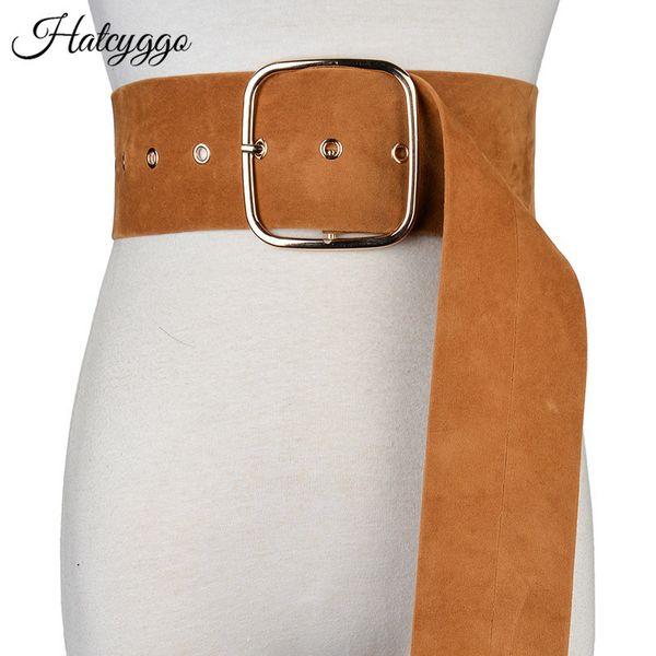 Hatcyggo Mujer Ancho Cummerbunds Vintage Cinturón de Cintura de Gamuza Para Las Mujeres de Moda Correa de Hebilla Cuadrada Grande Ropa Decoración WaistbandSH190721