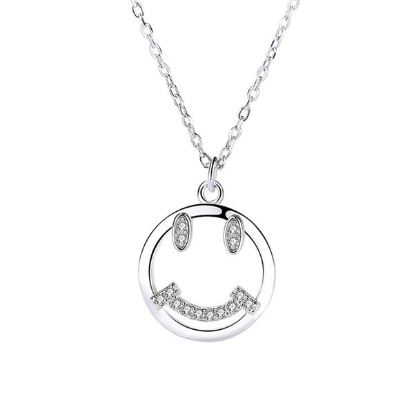 wholesale S925 Silver Shell Smile Face Necklace Lovely Creative Design Micro Zircon Jewelry Wholesale for Christmas Gift