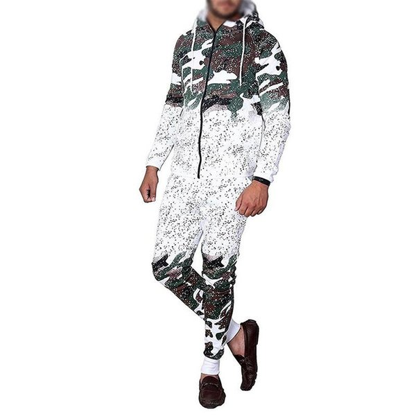2019 Mens Running Set Casual Sportswear Cardigan Hooded Sweatshirt Jogger Pants Tracksuit Camouflage Print Male Hombre Jumpsuit