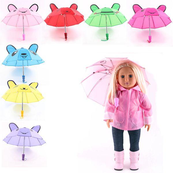 Beau parapluie Accessoires Enfants Filles Cadeaux Convient pour 18inch American Girl Doll Vente Chaude