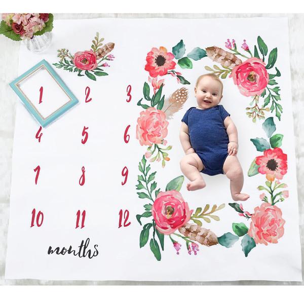 Ins Bébé Fille Garçon Photographie Couverture Boutique magasin fournit Floral Nouveau-Né Tapis De Photographie Mois Mois Couvertures Photo Accessoires 2019