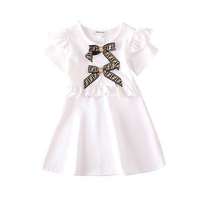 Kızlar Tasarımcı Elbiseler 2019 Yaz Yeni Moda Katı Renk Elbise Lüks Yay İngiliz Tarzı Mektup FF Princes Elbise 3 Renkler Çocuklar Giysileri 2 ADET