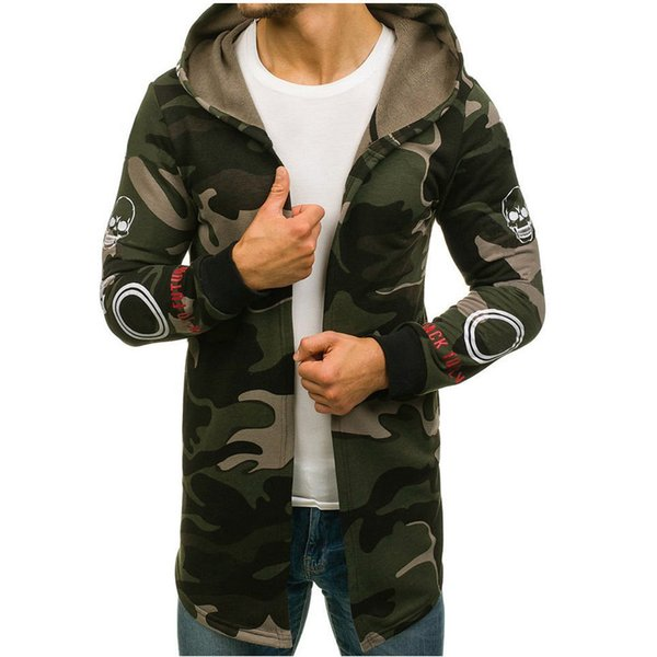 Winter Jacket Men Camouflage Hooded Trench Camouflage Male Jacket Cardigan Slim Long Sleeve Outwear Coat casaco masculino